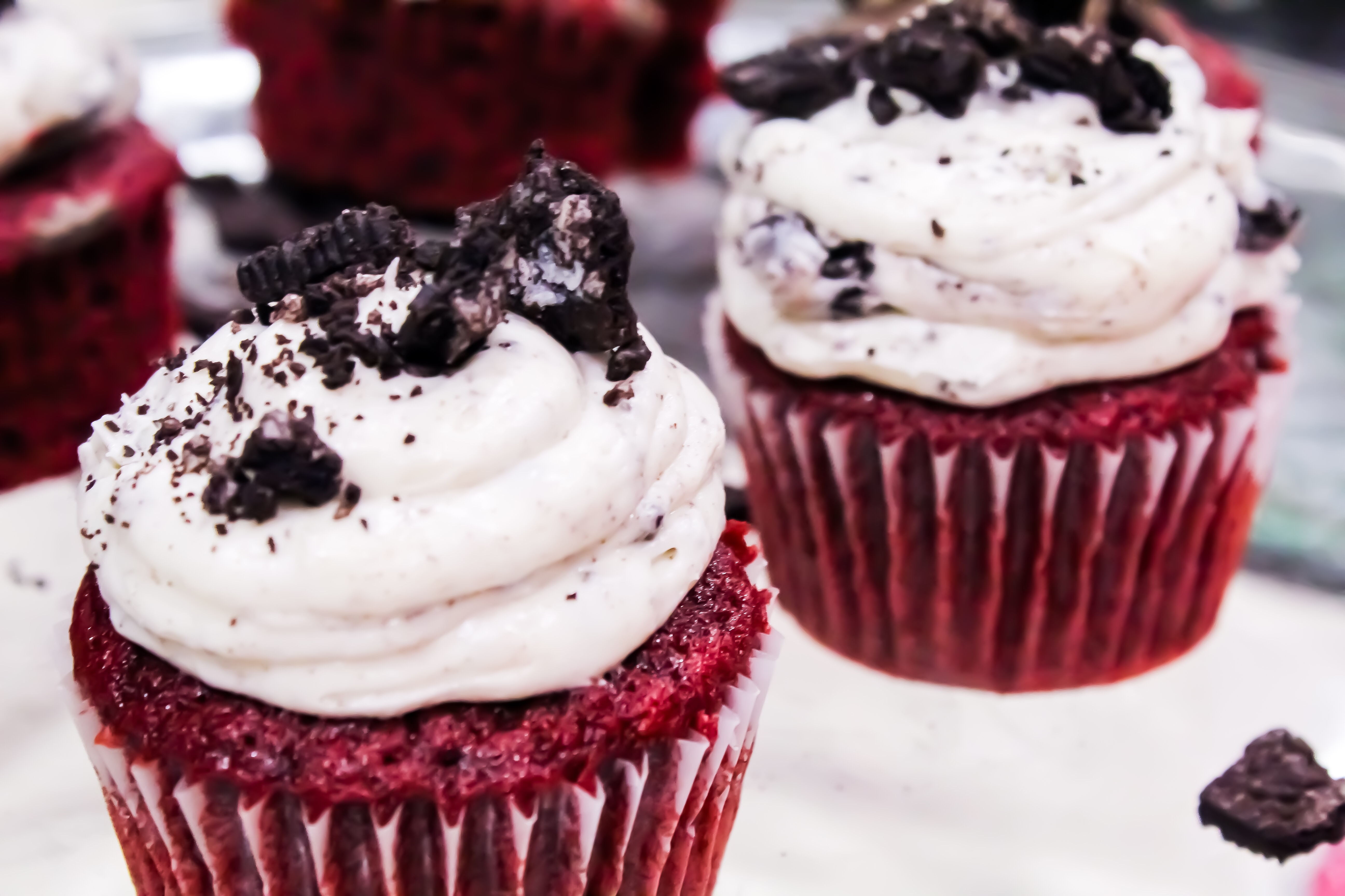 Red Velvet Cupcakes With Oreo Cream Cheese Frosting
